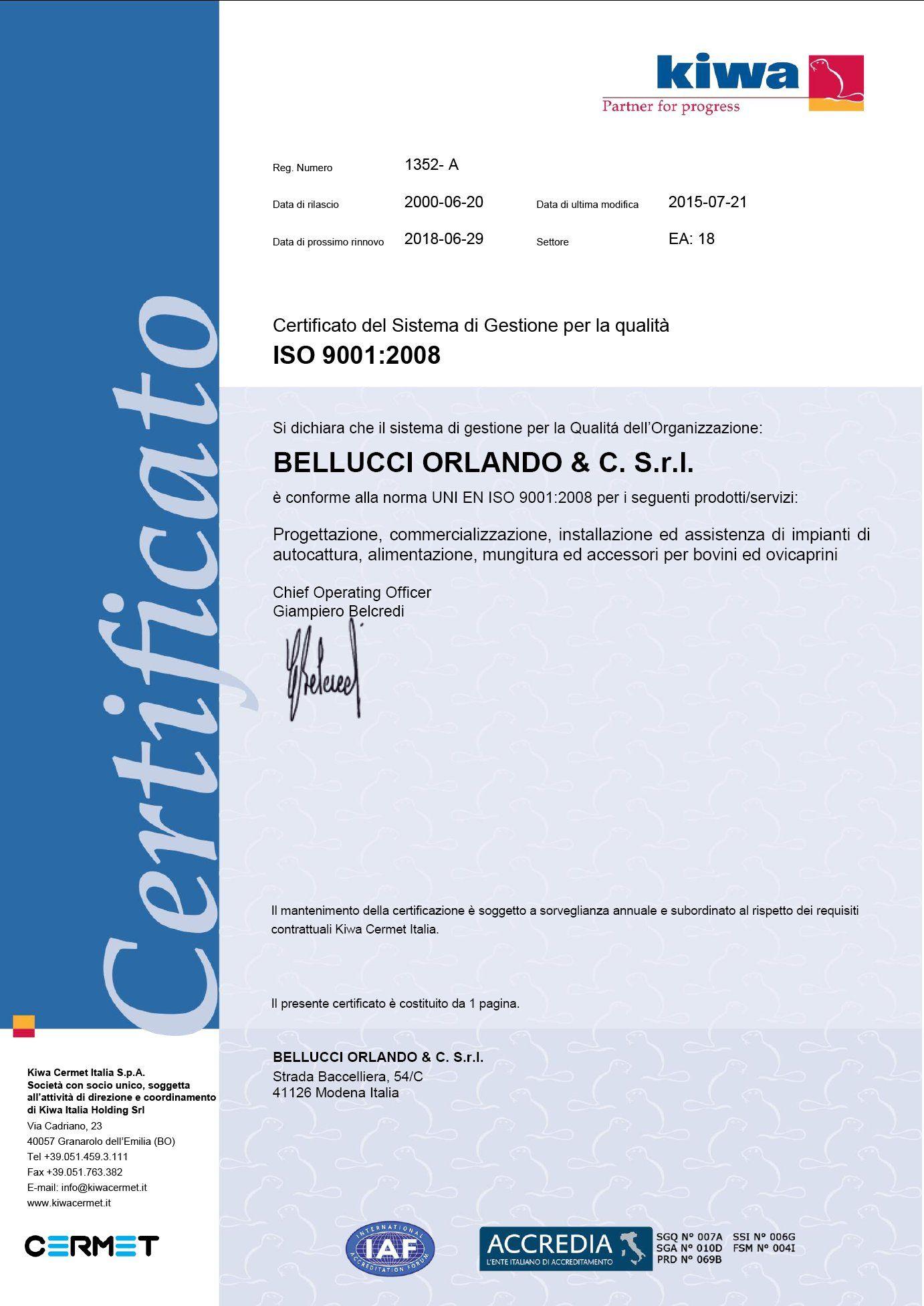 Certificato ISO9001-2008